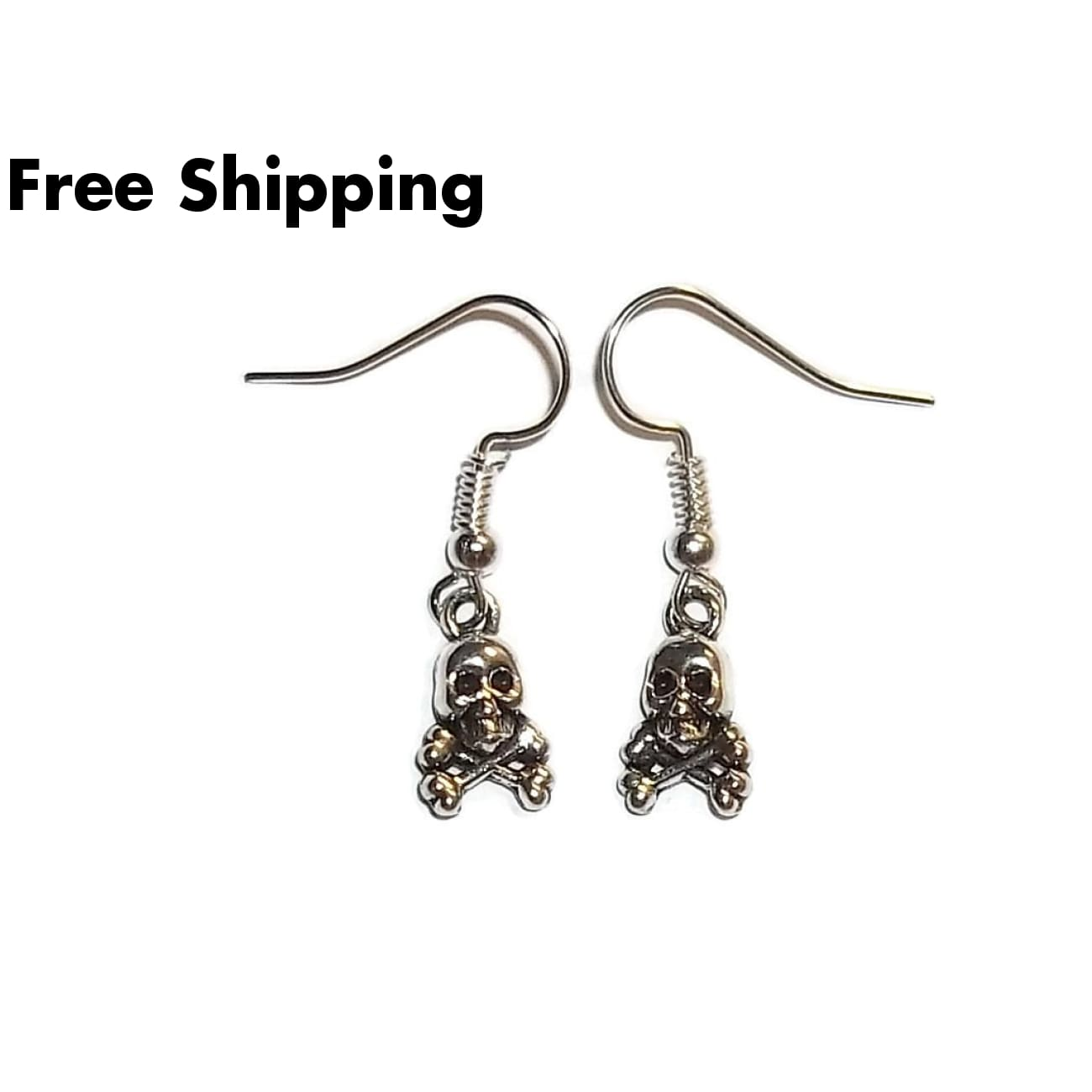 Skull & Crossbones Tibetan Silver Drop Dangle Hand Crafted Earrings - Earrings