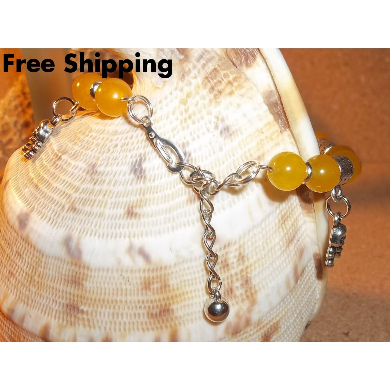 Skull & Crossbones Yellow Jade Silver Hand Crafted Charm Bangle Bracelet - Bracelets