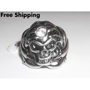 Skull In Dragon Claw Zirconia Biker Goth Fantasy Pagan Stainless Steel Ring (Size 10) - Rings
