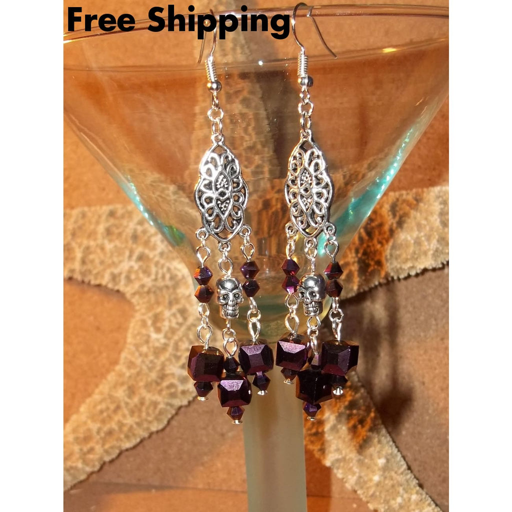 Skull Victorian Goth Rocker Deep Purple Irridescent Square Beaded Hand Crafted Chandelier Earrings - Earrings