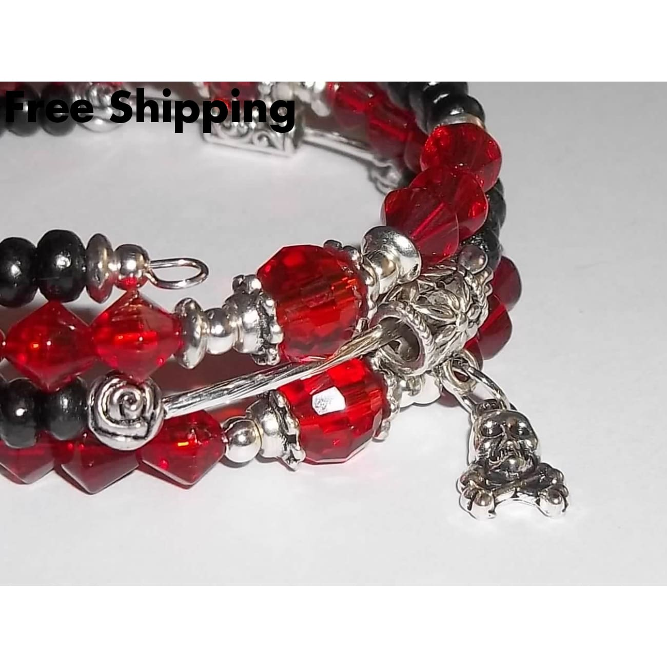 Skulls & Roses July Ruby Red Crystal Birthstone And Black Wooden Hand Crafted Wrap Bracelet - Bracelets