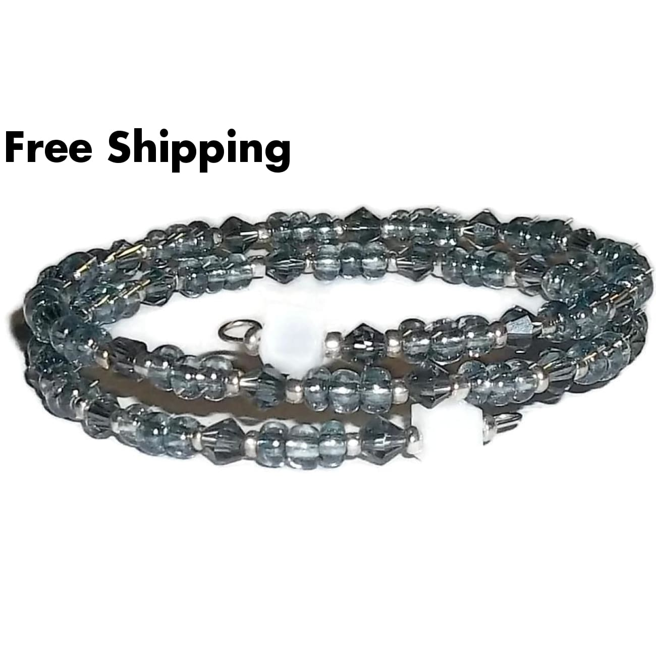 Slate Blue & Square White Milk Glass Beaded Artisan Crafted Wrap Bracelet (S-M) - New Arrival