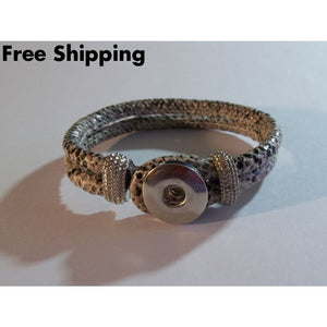 Snakeskin Look Snap Fashion Silver Tone Charm Bracelet W/ Two Charms - New Arrival