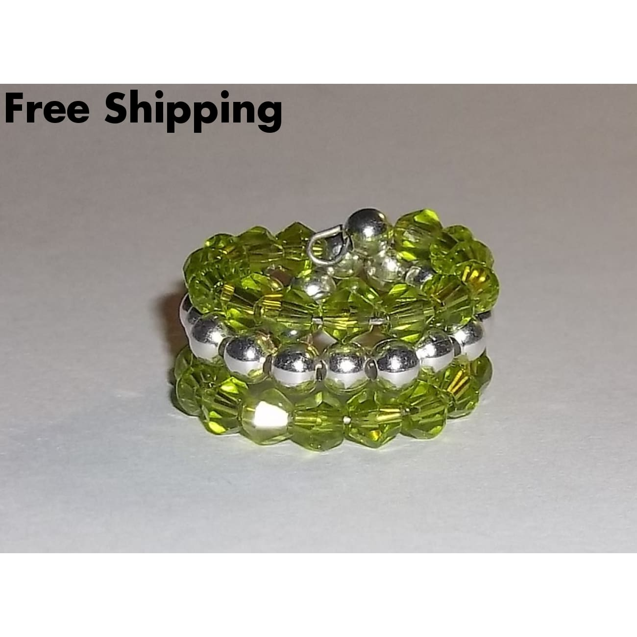 Spring Green Crystal & Tibetan Silver Beaded Artisan Crafted Wrap Ring Sz5 - Rings
