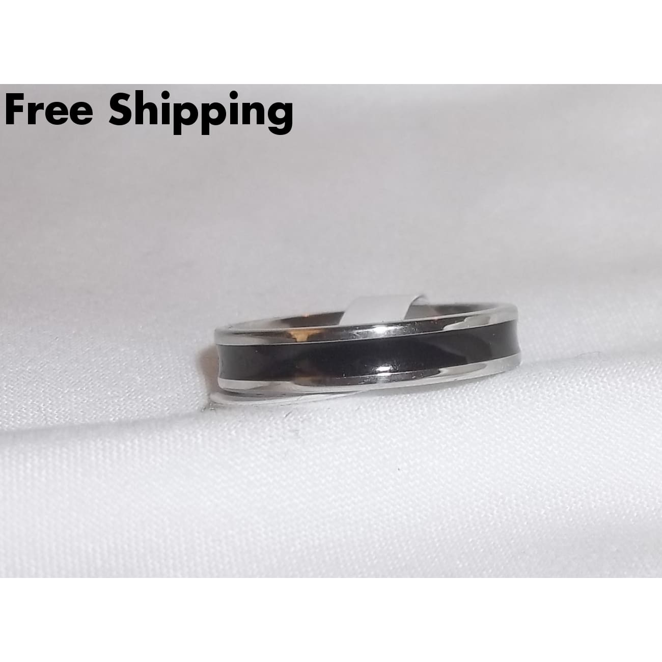 Stainless Steel Black Enameled 2Mm Band (Sz 6) - Rings