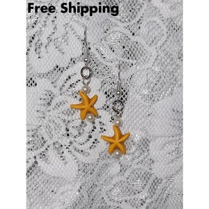 Starfish Golden Yellow Howlite & White Glass Pearl Beaded Artisan Crafted Dangle Earrings - New Arrival