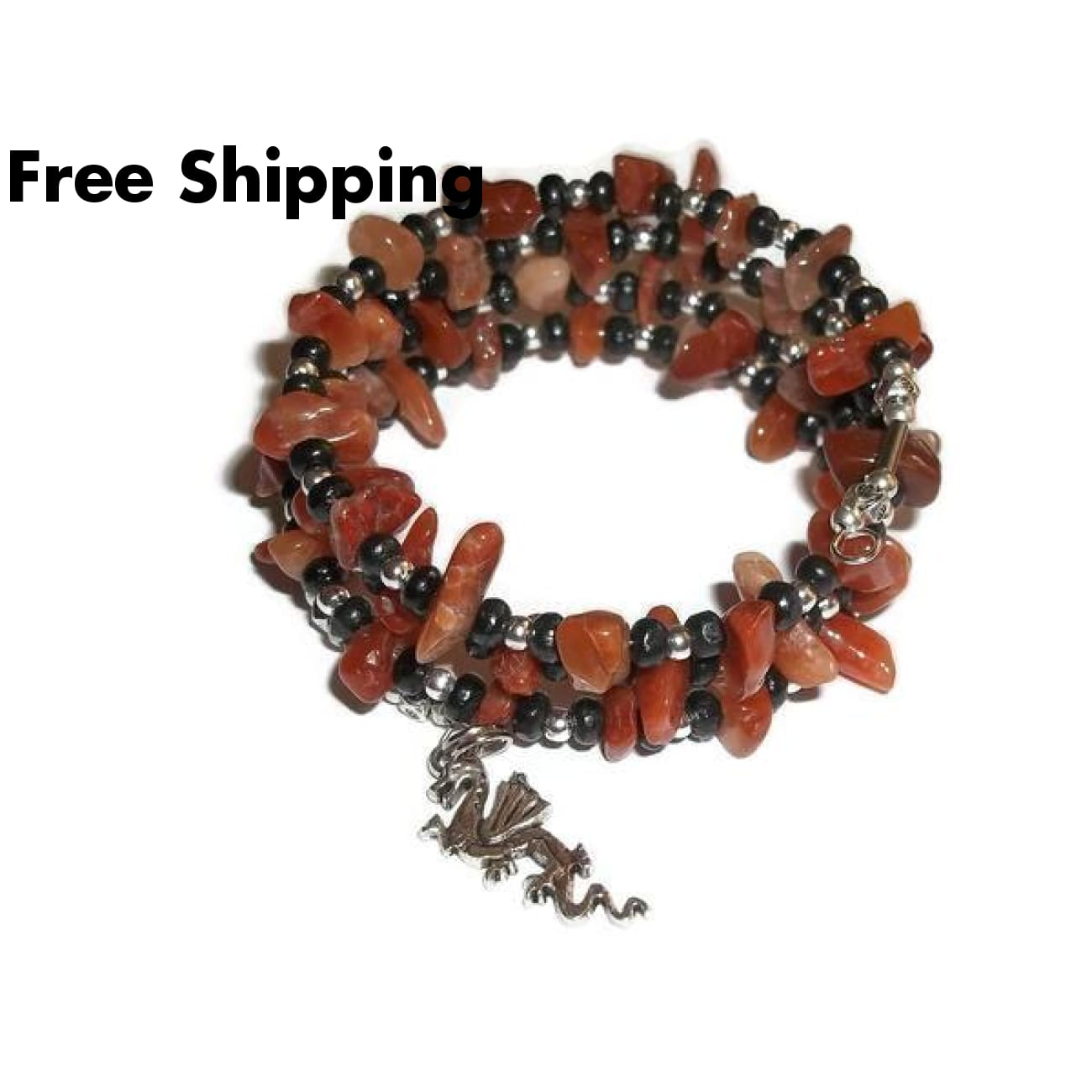 Statement Chinese Dragon Red Jasper Black Wooden & Tibetan Silver Hand Crafted Wrap Bracelet - Bracelets