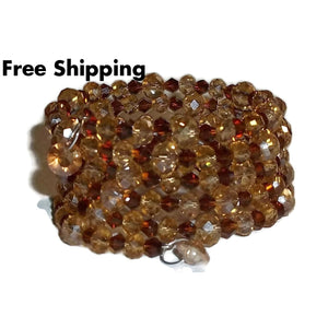 Statement Dark Amber & Yellow Topaz Swarovski Crystal Artisan Crafted Wrap Bracelet (S-M) - New Arrival