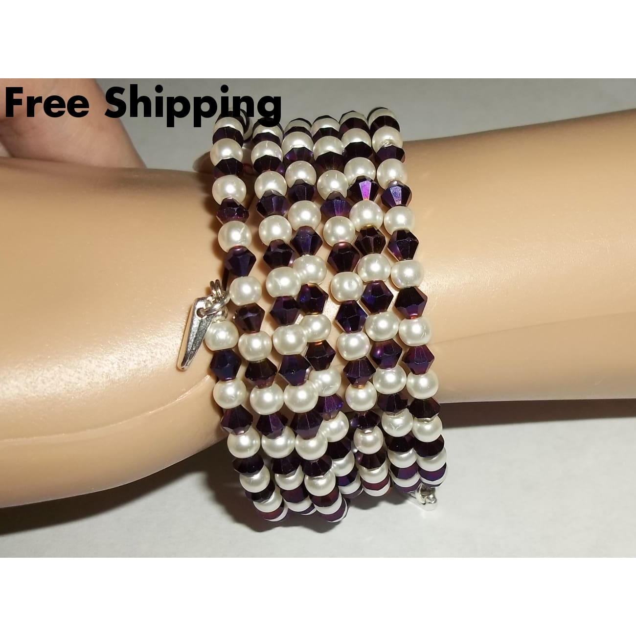 Statement Glass Pearl Bead And Metallic Dark Purple Beaded Artisan Crafted Wrap Bracelet - Bracelets
