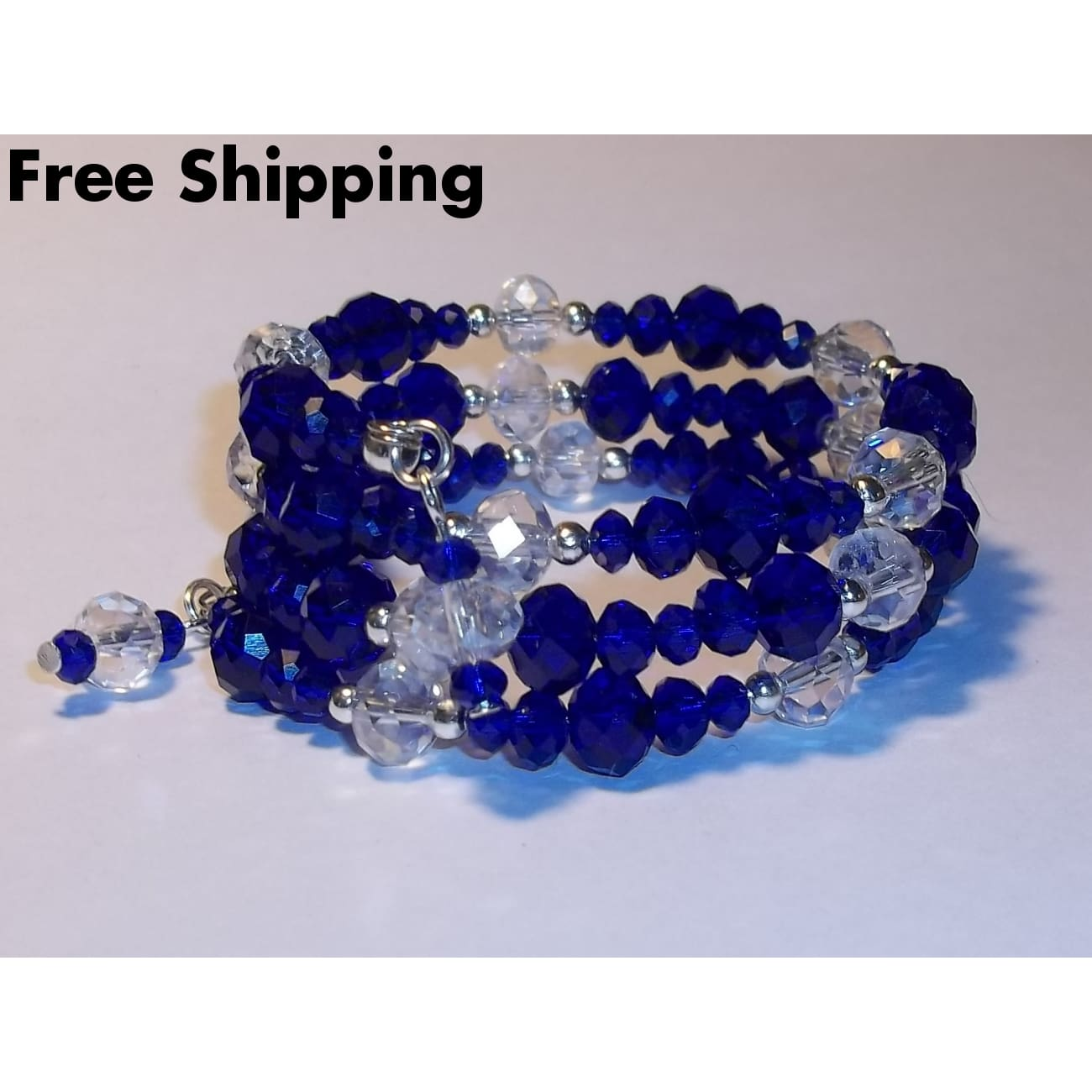 Statement Sapphire Blue & Clear Swarovski Crystal September Birthstone Artisan Crafted Wrap Bracelet (Fits Sz S-M) - New Arrival