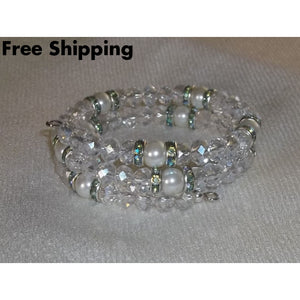 Swarovski Clear Ab Crystal & Glass Pearl Teal Spacer Crystal Wedding Prom Formal Statement Bracelet - Bracelets