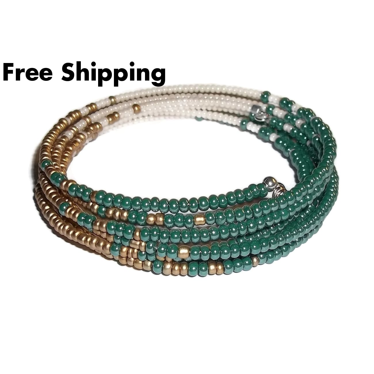 Teal Gold & Cream Glass Beaded Artisan Crafted Wrap Statement Bracelet (Xs-S) - New Arrival