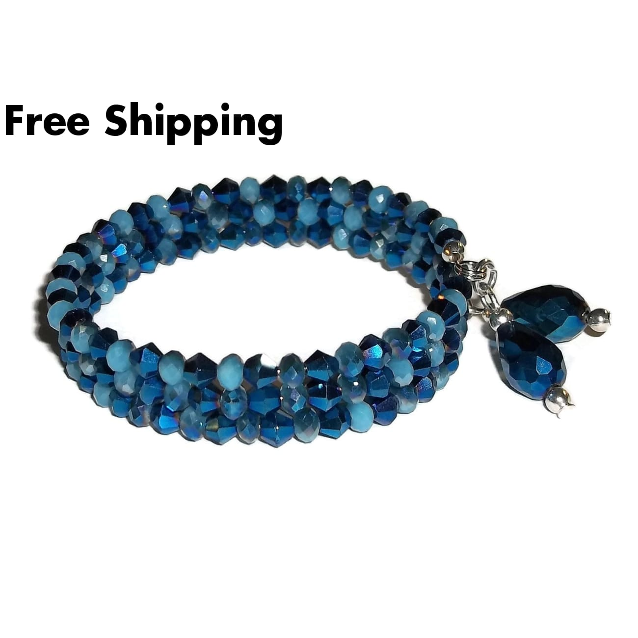 Teardrops Midnight Blue Metallic Crystal Artisan Crafted Wrap Bracelet(Sz S-M) - New Arrival