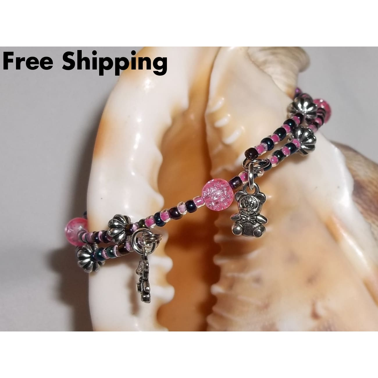 Teddy Bears Pink And Metallic Blue Silver Beaded Hand Crafted Charm Bangle Bracelet - Bracelets