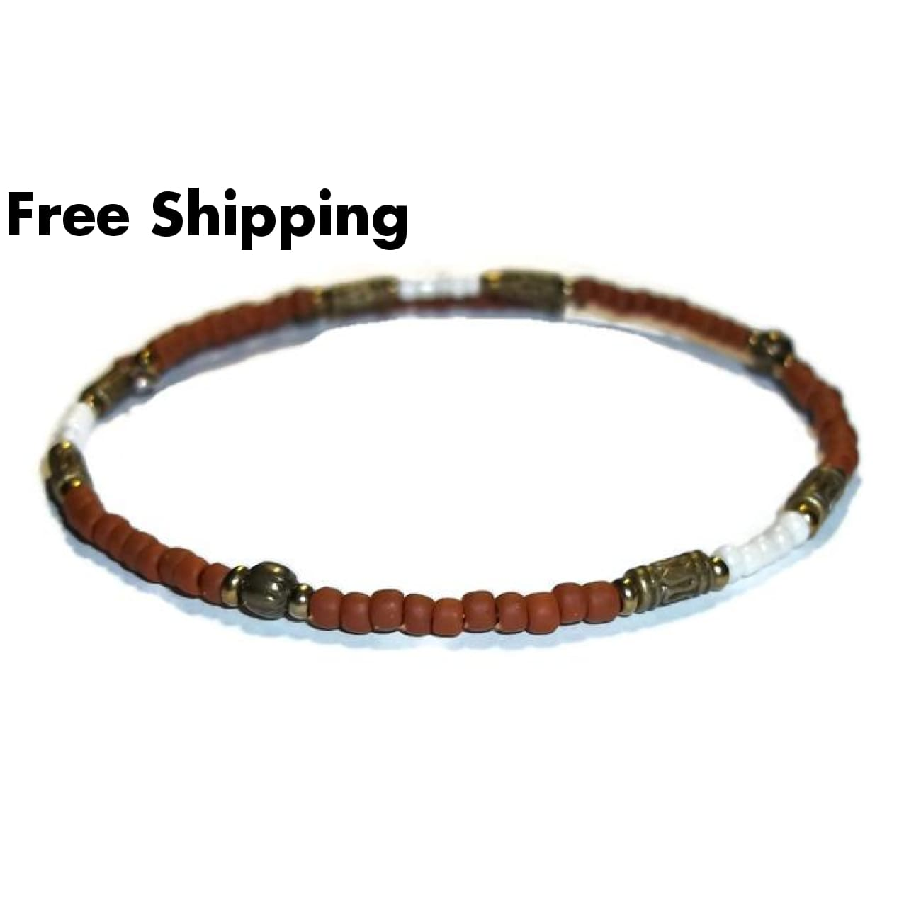 Terra Cotta & Cream Glass Beaded Bronze Artisan Crafted Stackables Adjustable Bracelet (L) - New Arrival