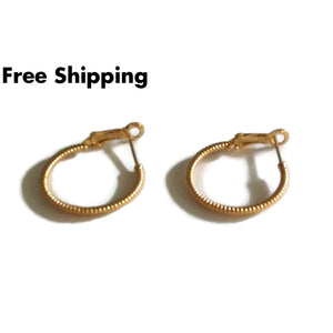 Textured Gold Plated 1 Fashion Hoop Earrings - New Arrival