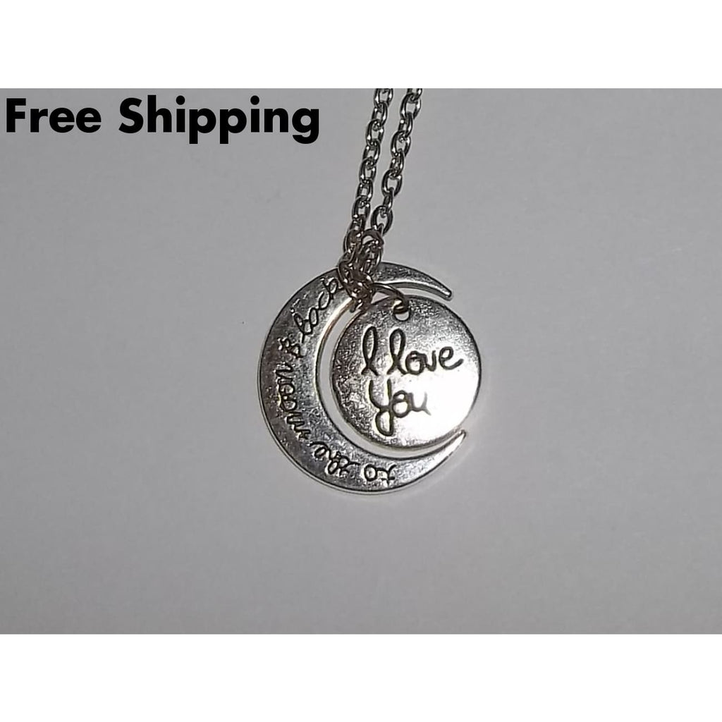 Tibetan Silver I Love You To The Moon & Back Artisan Crafted Pendant With 24 Chain - Pendants
