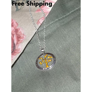 Tree Of Life 2 Tone Pendant 18 Silver Tone Chain - Pendants