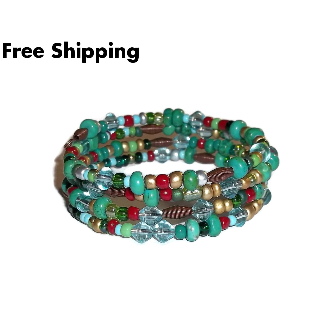 Turquoise Picasso Style Mixed Bead Artisan Crafted Antique Copper Wrap Bracelet - Bracelets