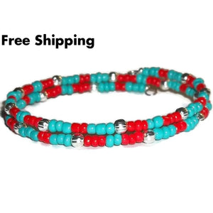 Turquoise & Red Glass Beaded Artisan Crafted Stackable Wrap Bracelet (S-L) - New Arrival
