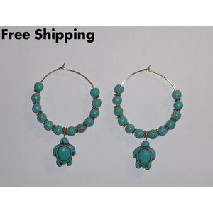 Turquoise Sea Turtle Gold Tone 40Mm Hoop Earrings - Earrings