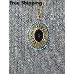Victorian Oval Bronze Pendant W/ Teal Crystals And Black Acrylic Center Stone 26 Pendant - Pendants
