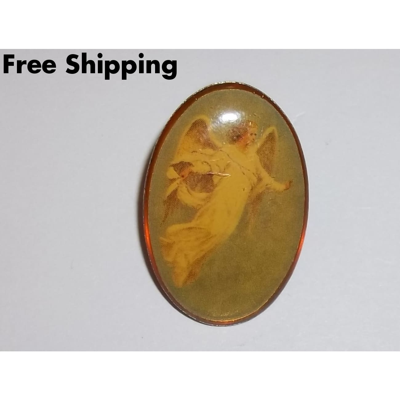Vintage Angel Cabochon Brass Pin - Brooches Pins