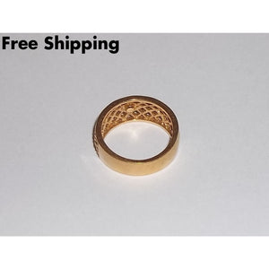 Vintage Avon (Signed) Gold Tone Basket Weave Ring Sz8 - Rings