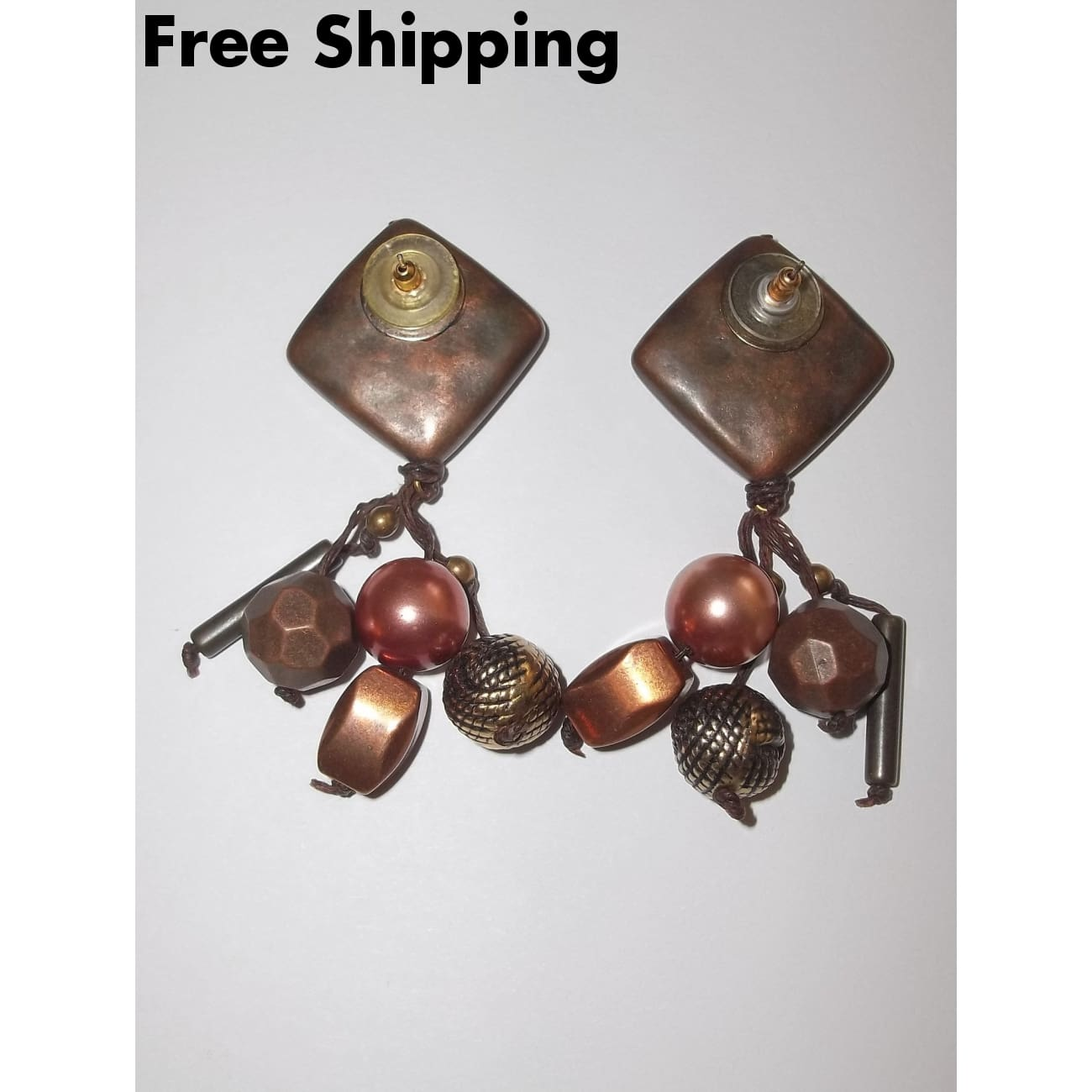 Vintage Beaten Bronze And Copper Look Bohemian Tribal Style Earrings - Earrings