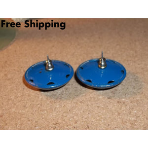 Vintage Blue Metal 1 1/4 Button Earrings - Earrings