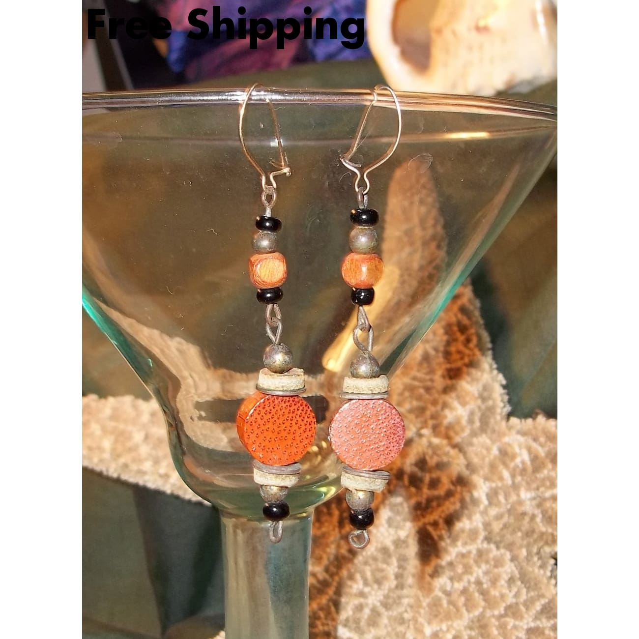 Vintage Bohemian Hand Crafted Wooden Beaded Drop Dangle Earrings - Vintage Handcrafted Artisan