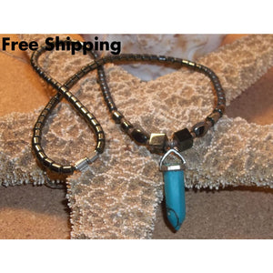 Vintage Bohemian Turquoise Chakra Stone & Hematite Beaded 20 Pendant Necklace - Necklaces