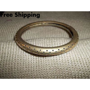 Vintage Brass Hollow 7 Bangle Bracelet - Bracelets