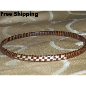 Vintage Brown & Beige Wicker Wooden Woven Bangle Bracelet - Vintage Handcrafted Artisan