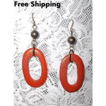 Vintage Burnt Orange Wooden And Bronze Oval Cutout Dangle Earrings - Vintage Handcrafted Artisan
