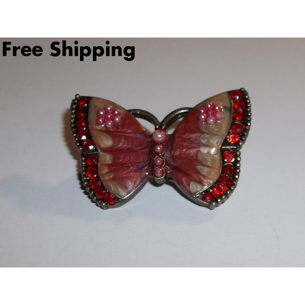 Vintage Butterfly Enameled Pink Pearl & Red Crystal Silver Tone Brooch - New Arrival