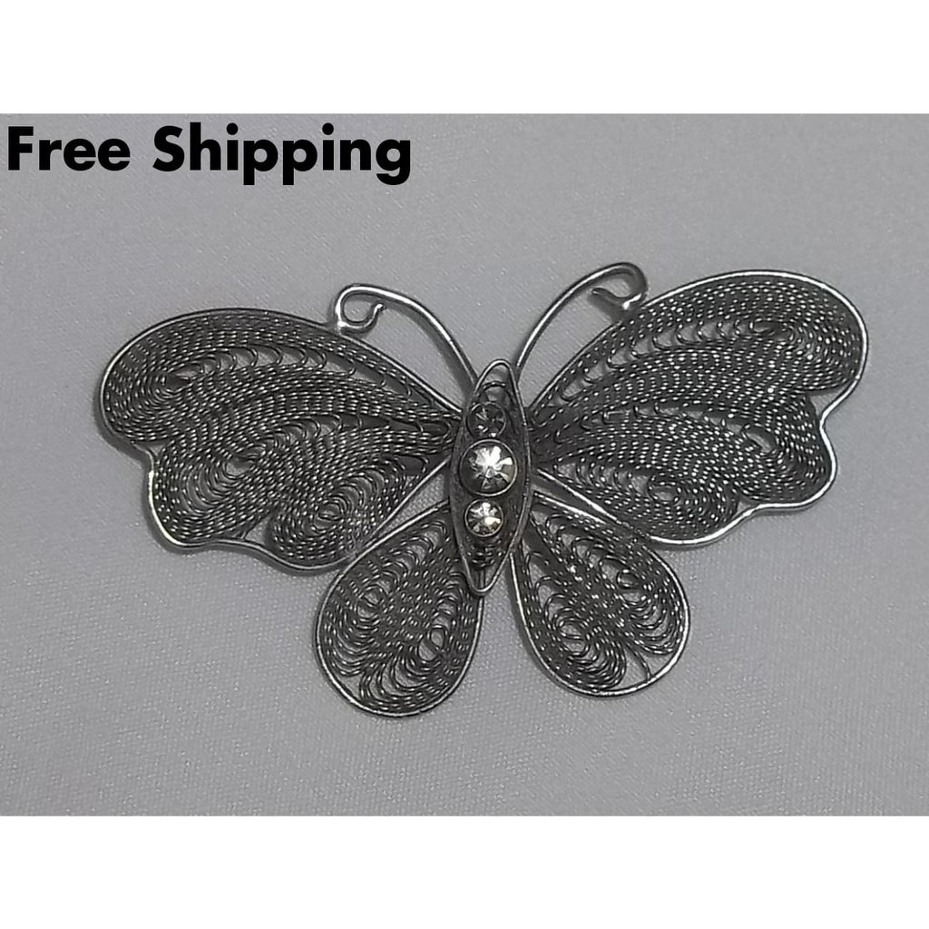 Vintage Butterfly Filigree Pewter Brooch - Vintage Handcrafted Artisan