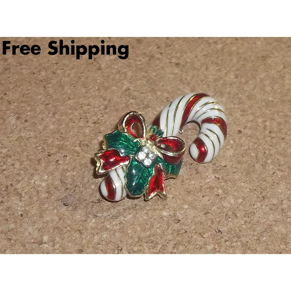 Vintage Candy Cane W/ Holly & 4 Rhinestones Enameled Brooch 1 3/4 ~ Circa 1960S - Brooches Pins