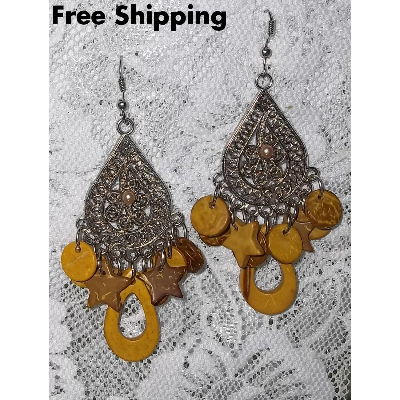 Vintage Chandelier Wooden Beaded Antique Beaded 2.5 Inch Dangle Earrings - Vintage Handcrafted Artisan