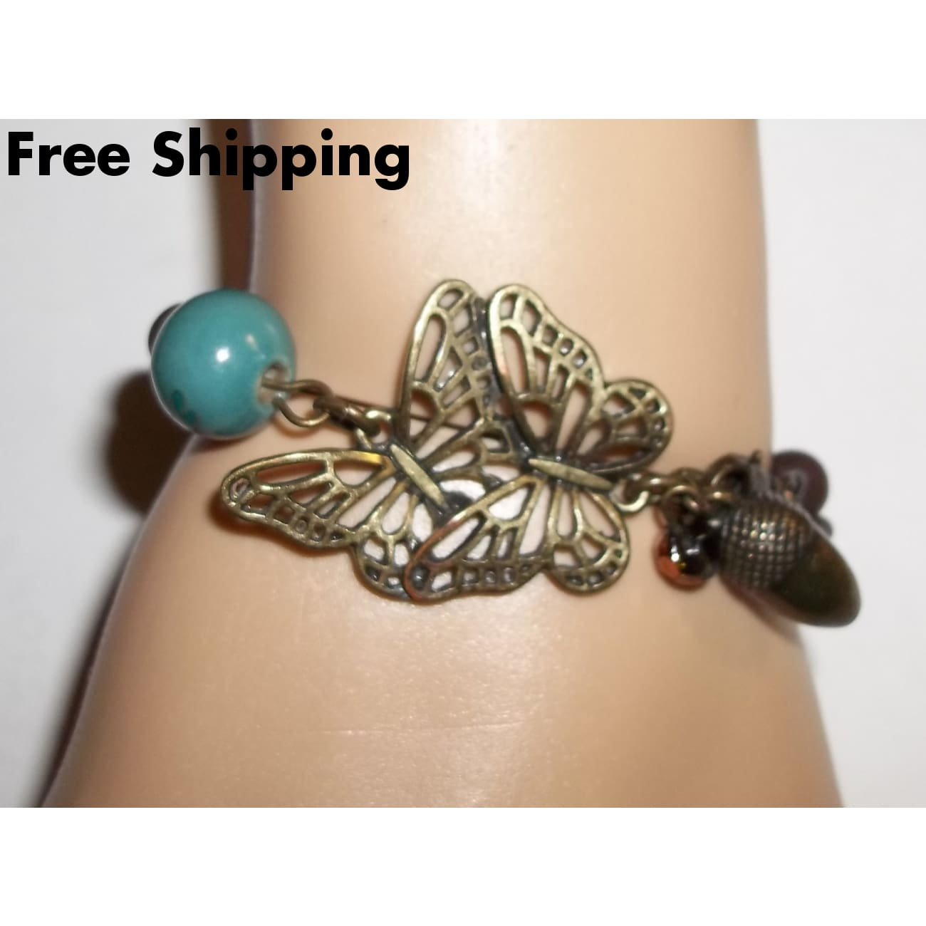Vintage Cookie Lee Double Butterfly Bronze & Wooden Beaded Link Bracelet - Vintage Handcrafted Artisan