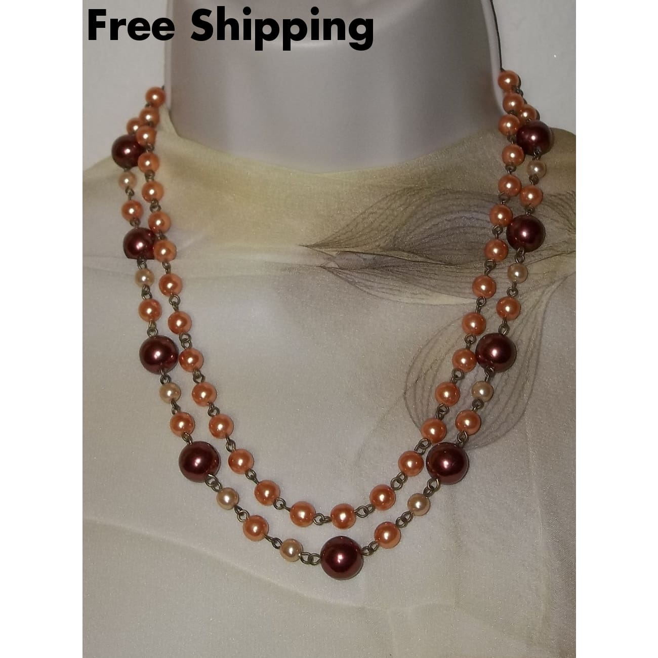 Vintage Copper Peach & Champagne Pearl Beaded Bronze Double Strand 20 - 22 Adjustable Necklace - Vintage
