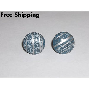 Vintage Country Blue W/ Silver Splatter Design 3/4 Button Earrings - Earrings