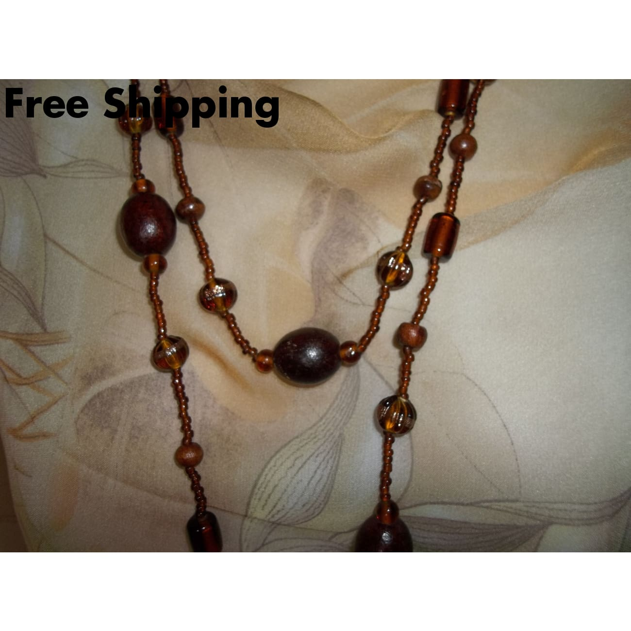 Vintage Dark Wood & Rootbeer Glass Beaded 50 Strand Necklace Ca.1950S - Necklaces