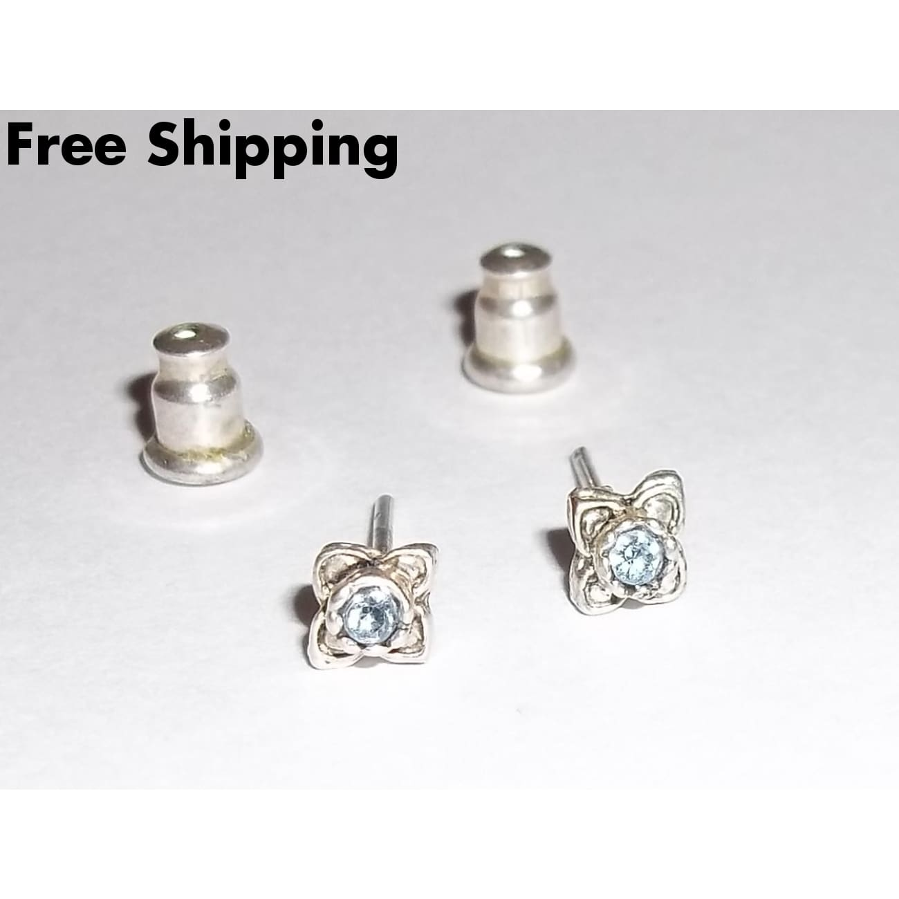 Vintage December Birthstone Flower Silver Plated Stud Earrings - Earrings