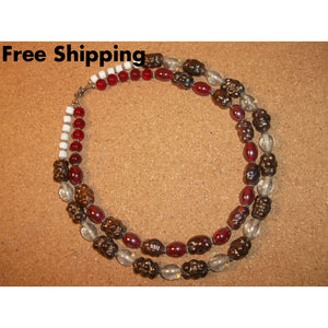 Vintage Double Strand Red & Root Beer Carnival Glass Beaded 18 Necklace - Necklaces