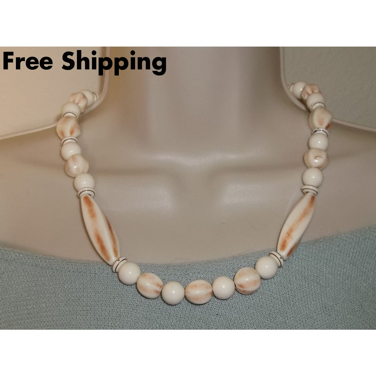 Vintage Ethnic Faux Ivory Tribal Beaded 22 Necklace - Vintage