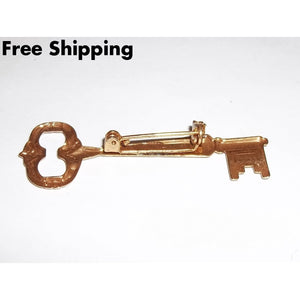 Vintage Gold Tone Skeleton Key Brooch - Brooches Pins