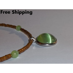 Vintage Green Cats Eye Wooden Beaded Choker Pendant - Vintage Handcrafted Artisan