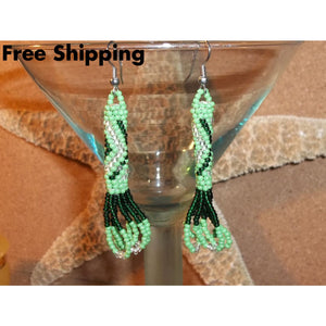 Vintage Hand Beaded Two Tone Green Glass Zig Zag Tribal Dangle Earrings - Vintage Handcrafted Artisan