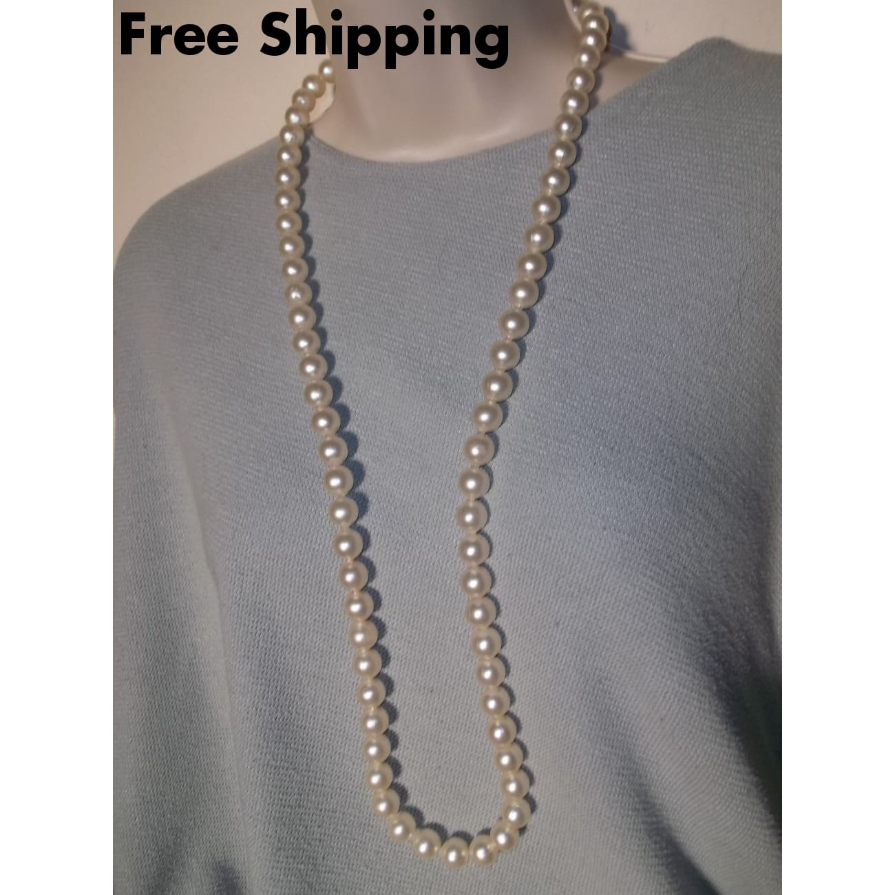 Vintage Ivory Faux Pearl Beaded 30 Strand Necklace - Necklaces & Pendants